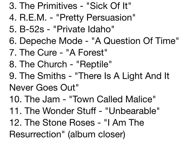 The alternative ULTIMATE 80s INDIE ALBUM tracklists